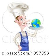 Clipart Of A White Male Chef With A Curling Mustache Holding Earth On A Platter Royalty Free Vector Illustration