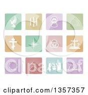 Pastel Square Flat Design Colorful Christian Icons With Rounded Corners