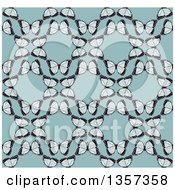 Clipart Of A Seamless Background Pattern Of Vintage Butterflies Forming Circles Over Blue Royalty Free Vector Illustration