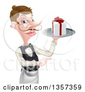 Cartoon Caucasian Male Waiter With A Curling Mustache Holding A Gift On A Platter And Pointing