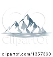 Clipart Of A Lake With Mountains Landscape Royalty Free Vector Illustration by AtStockIllustration