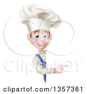 Clipart Of A Young White Male Chef Pointing Around A Sign Royalty Free Vector Illustration