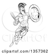 Clipart Of A Lineart Black And White Muscular Spartan Man In A Helmet Fighting And Jumping With A Sword And Shield Royalty Free Vector Illustration