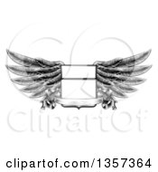 Clipart Of A Black And White Engraved Or Woodcut Winged Shield Insignia With A Banner Scroll Royalty Free Vector Illustration by AtStockIllustration