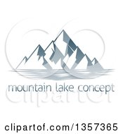 Clipart Of A Lake With Mountains Over Sample Text Royalty Free Vector Illustration