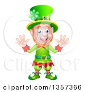 Clipart Of A Cartoon Friendly St Patricks Day Leprechaun Waving With Both Hands Royalty Free Vector Illustration by AtStockIllustration