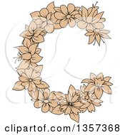 Clipart Of A Tan Floral Letter C Design Royalty Free Vector Illustration