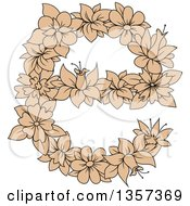 Clipart Of A Tan Floral Lowercase Letter E Design Royalty Free Vector Illustration