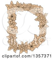 Clipart Of A Tan Floral Letter D Design Royalty Free Vector Illustration