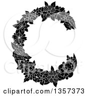 Clipart Of A Black And White Floral Letter C Design Royalty Free Vector Illustration