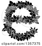 Clipart Of A Black And White Floral Lowercase Letter E Design Royalty Free Vector Illustration