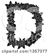 Clipart Of A Black And White Capital Floral Letter D Design Royalty Free Vector Illustration