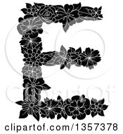 Clipart Of A Black And White Floral Capital Letter E Design Royalty Free Vector Illustration