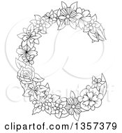 Clipart Of A Black And White Lineart Floral Letter C Design Royalty Free Vector Illustration
