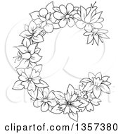 Black And White Lineart Floral Letter C Design