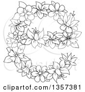 Clipart Of A Black And White Lineart Floral Lowercase Letter E Design Royalty Free Vector Illustration