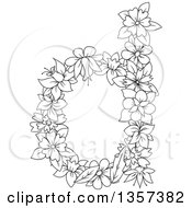 Clipart Of A Black And White Lineart Lowercase Floral Letter D Design Royalty Free Vector Illustration