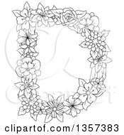 Clipart Of A Black And White Lineart Capital Floral Letter D Design Royalty Free Vector Illustration