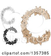 Clipart Of Floral Letter C Designs Royalty Free Vector Illustration