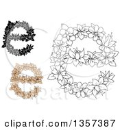 Clipart Of Floral Lowercase Letter E Designs Royalty Free Vector Illustration