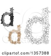 Clipart Of Lowercase Floral Letter D Designs Royalty Free Vector Illustration