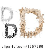 Clipart Of Capital Floral Letter D Designs Royalty Free Vector Illustration