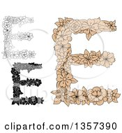 Clipart Of Floral Capital Letter E Designs Royalty Free Vector Illustration