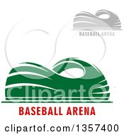 Clipart Of Gray And Blue Sports Stadium Arena Buildings With Text Royalty Free Vector Illustration