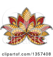 Clipart Of A White Yellow And Red Henna Lotus Flower Royalty Free Vector Illustration