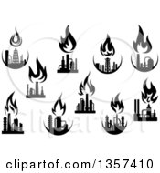 Black And White Silhouetted Natural Gas And Flame Factories