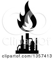 Black And White Silhouetted Natural Gas And Flame Factory