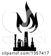 Clipart Of A Black And White Silhouetted Natural Gas And Flame Factory Royalty Free Vector Illustration by Vector Tradition SM