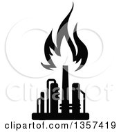 Clipart Of A Black And White Silhouetted Natural Gas And Flame Factory Royalty Free Vector Illustration