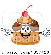 Clipart Of A Cartoon Caramel Pudding Dessert Character Royalty Free Vector Illustration