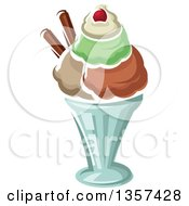Clipart Of A Cartoon Ice Cream Sundae Royalty Free Vector Illustration by Vector Tradition SM