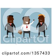 Clipart Of A Flat Design Black Businessman Waving By Guards On Blue Royalty Free Vector Illustration