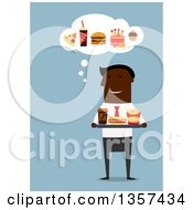 Clipart Of A Flat Design Black Businessman Holding A Tray Of Fast Food On Blue Royalty Free Vector Illustration