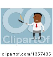 Clipart Of A Flat Design Black Businessman Flipping A Pancake On Blue Royalty Free Vector Illustration