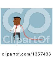 Clipart Of A Flat Design Black Businessman Carrying Sausage Links On Blue Royalty Free Vector Illustration