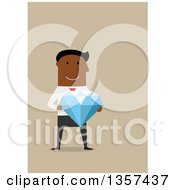 Clipart Of A Flat Design Black Businessman Holding A Giant Diamond On Blue Royalty Free Vector Illustration by Vector Tradition SM