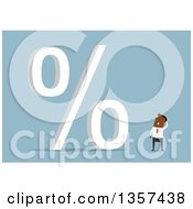 Clipart Of A Flat Design Black Businessman Looking At A Giant Percent Symbol On Blue Royalty Free Vector Illustration