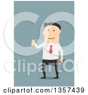 Clipart Of A Flat Design White Business Man Spraying Cologne On Blue Royalty Free Vector Illustration by Vector Tradition SM