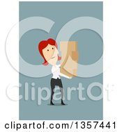 Clipart Of A Flat Design Tired Red Haired White Business Woman Carrying Boxes On Blue Royalty Free Vector Illustration by Vector Tradition SM