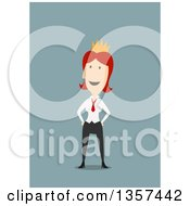 Clipart Of A Flat Design Red Haired White Business Woman Wearing A Crown On Blue Royalty Free Vector Illustration by Vector Tradition SM