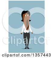 Clipart Of A Flat Design Shocked Black Business Woman With Her Mouth Hanging Open Over Blue Royalty Free Vector Illustration by Vector Tradition SM