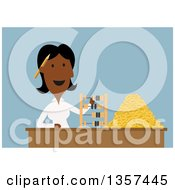 Flat Design Black Businesswoman Using A Wooden Abacus To Count Golden Dollar Coins