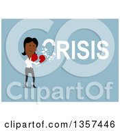 Clipart Of A Flat Design Black Businesswoman Punching And Solving A Crisis On Blue Royalty Free Vector Illustration by Vector Tradition SM