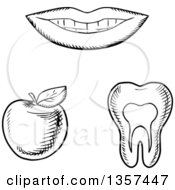 Black And White Sketched Mouth Tooth And Apple