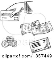 Clipart Of Black And White Sketched Coins Check Cash And Person Using A Credit Card Royalty Free Vector Illustration