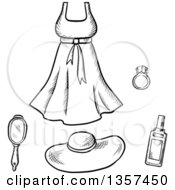 Clipart Of Black And White Sketched Lady Beauty Products And A Dress Royalty Free Vector Illustration